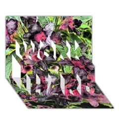 Amazing Garden Flowers 33 WORK HARD 3D Greeting Card (7x5)