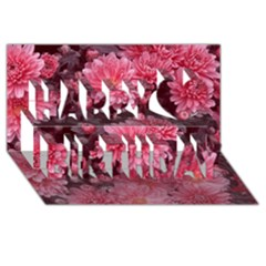 Awesome Flowers Red Happy Birthday 3D Greeting Card (8x4)