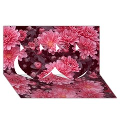 Awesome Flowers Red Twin Hearts 3d Greeting Card (8x4)