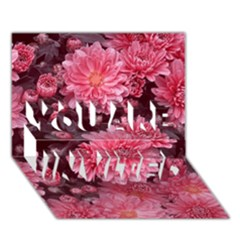Awesome Flowers Red YOU ARE INVITED 3D Greeting Card (7x5)