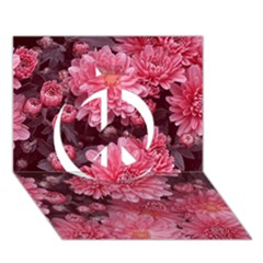 Awesome Flowers Red Peace Sign 3d Greeting Card (7x5)