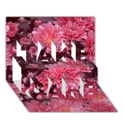 Awesome Flowers Red TAKE CARE 3D Greeting Card (7x5)