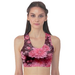 Awesome Flowers Red Sports Bra