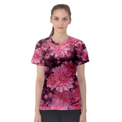 Awesome Flowers Red Women s Sport Mesh Tees