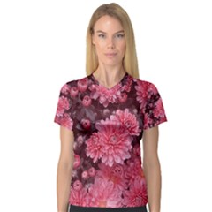 Awesome Flowers Red Women s V-Neck Sport Mesh Tee