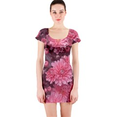 Awesome Flowers Red Short Sleeve Bodycon Dresses