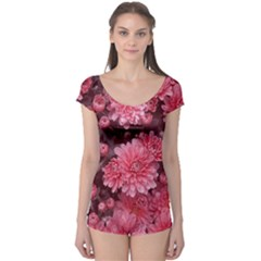 Awesome Flowers Red Short Sleeve Leotard