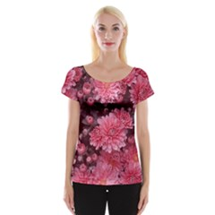Awesome Flowers Red Women s Cap Sleeve Top