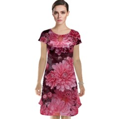 Awesome Flowers Red Cap Sleeve Nightdresses