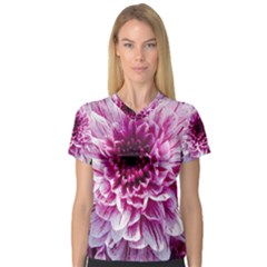 Wonderful Flowers Women s V-Neck Sport Mesh Tee