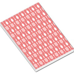 Coral And White Kitchen Utensils Pattern Large Memo Pads