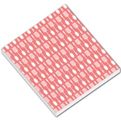 Coral And White Kitchen Utensils Pattern Small Memo Pads