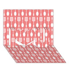 Coral And White Kitchen Utensils Pattern I Love You 3d Greeting Card (7x5)