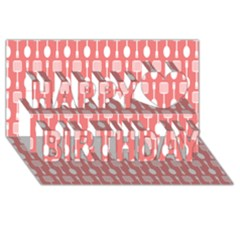 Coral And White Kitchen Utensils Pattern Happy Birthday 3D Greeting Card (8x4)