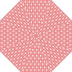 Coral And White Kitchen Utensils Pattern Hook Handle Umbrellas (Medium)
