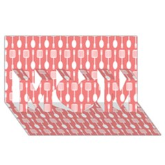 Coral And White Kitchen Utensils Pattern MOM 3D Greeting Card (8x4)