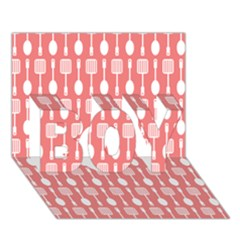 Coral And White Kitchen Utensils Pattern BOY 3D Greeting Card (7x5)