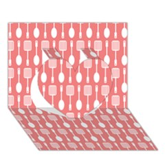 Coral And White Kitchen Utensils Pattern Heart 3d Greeting Card (7x5)