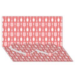 Coral And White Kitchen Utensils Pattern Twin Heart Bottom 3D Greeting Card (8x4)