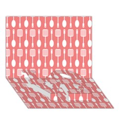 Coral And White Kitchen Utensils Pattern Love Bottom 3d Greeting Card (7x5)