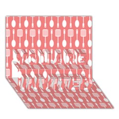 Coral And White Kitchen Utensils Pattern You Are Invited 3d Greeting Card (7x5)