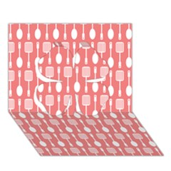 Coral And White Kitchen Utensils Pattern Clover 3D Greeting Card (7x5)