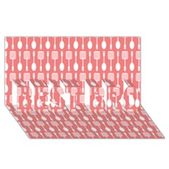 Coral And White Kitchen Utensils Pattern Best Bro 3d Greeting Card (8x4)