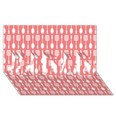 Coral And White Kitchen Utensils Pattern #1 DAD 3D Greeting Card (8x4)