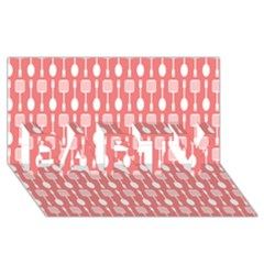 Coral And White Kitchen Utensils Pattern PARTY 3D Greeting Card (8x4)
