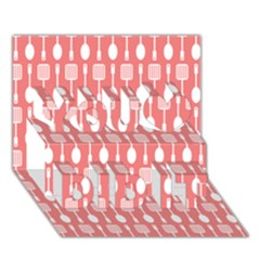 Coral And White Kitchen Utensils Pattern You Did It 3D Greeting Card (7x5)