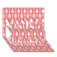 Coral And White Kitchen Utensils Pattern You Rock 3D Greeting Card (7x5)