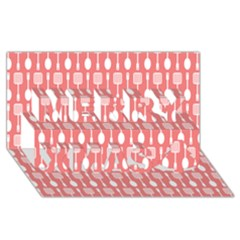 Coral And White Kitchen Utensils Pattern Merry Xmas 3d Greeting Card (8x4)