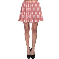 Coral And White Kitchen Utensils Pattern Skater Skirts