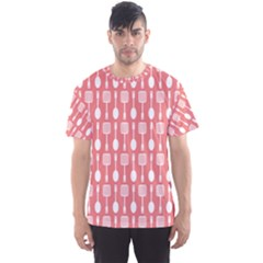 Coral And White Kitchen Utensils Pattern Men s Sport Mesh Tees