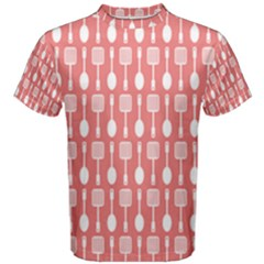 Coral And White Kitchen Utensils Pattern Men s Cotton Tees