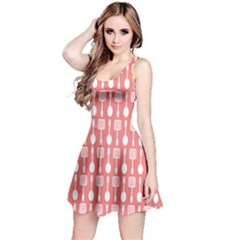 Coral And White Kitchen Utensils Pattern Reversible Sleeveless Dresses