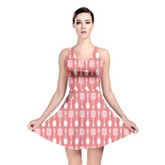 Coral And White Kitchen Utensils Pattern Reversible Skater Dresses
