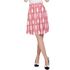 Coral And White Kitchen Utensils Pattern A-Line Skirts