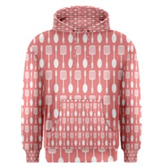 Coral And White Kitchen Utensils Pattern Men s Pullover Hoodies