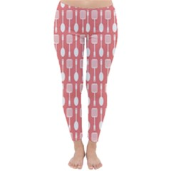 Coral And White Kitchen Utensils Pattern Winter Leggings
