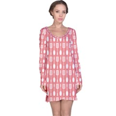 Coral And White Kitchen Utensils Pattern Long Sleeve Nightdresses