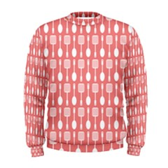 Coral And White Kitchen Utensils Pattern Men s Sweatshirts