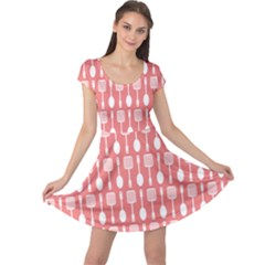 Coral And White Kitchen Utensils Pattern Cap Sleeve Dresses
