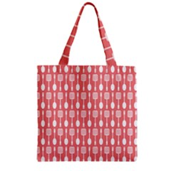 Coral And White Kitchen Utensils Pattern Zipper Grocery Tote Bags