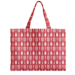 Coral And White Kitchen Utensils Pattern Zipper Tiny Tote Bags
