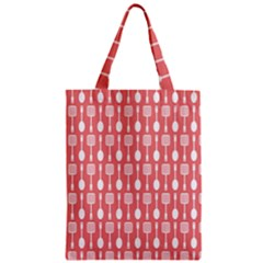 Coral And White Kitchen Utensils Pattern Zipper Classic Tote Bags
