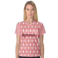 Coral And White Kitchen Utensils Pattern Women s V-Neck Sport Mesh Tee