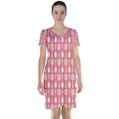 Coral And White Kitchen Utensils Pattern Short Sleeve Nightdresses