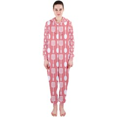 Coral And White Kitchen Utensils Pattern Hooded Jumpsuit (Ladies)