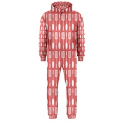Coral And White Kitchen Utensils Pattern Hooded Jumpsuit (men)